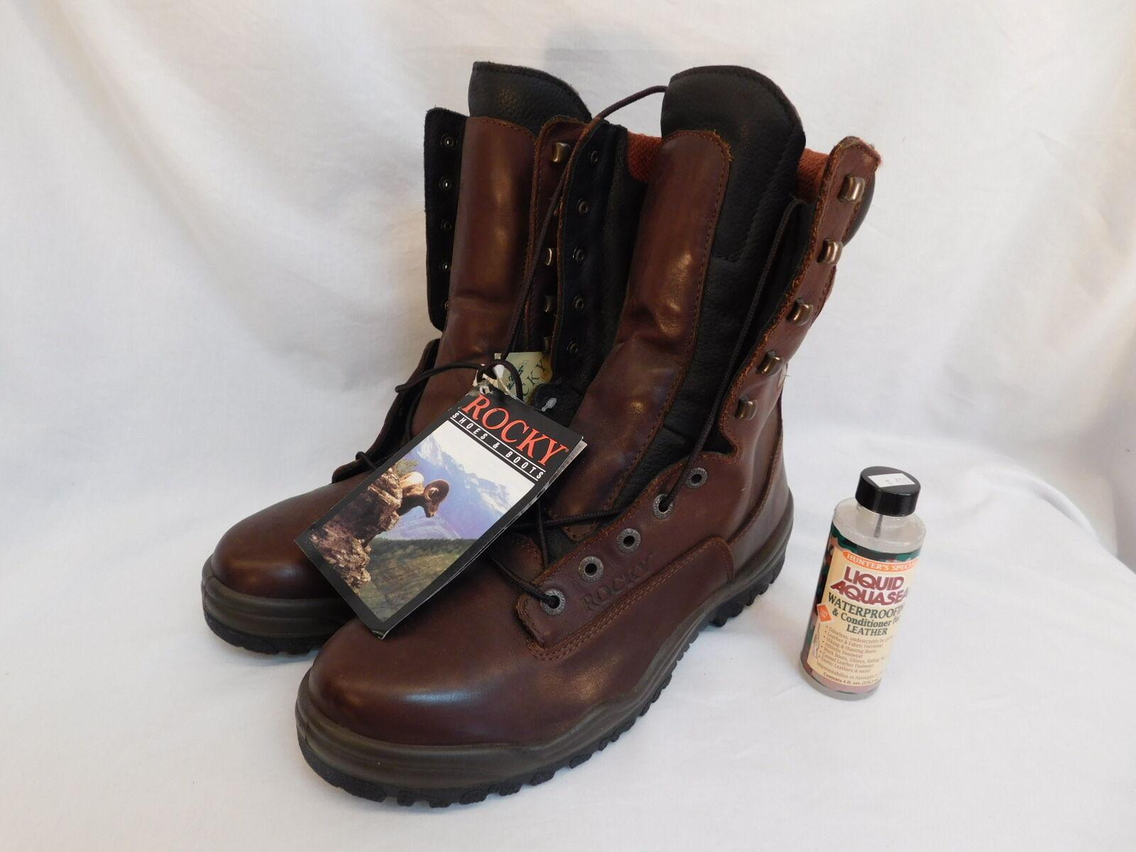 botas Parte superior de cuero Marrón Impermeable ROCKY para hombre 12M nunca usado 8518 aislado