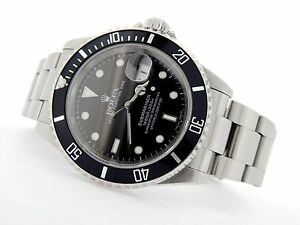 Rolex Submariner Mens Stainless Steel Watch Date Sub Black ...
