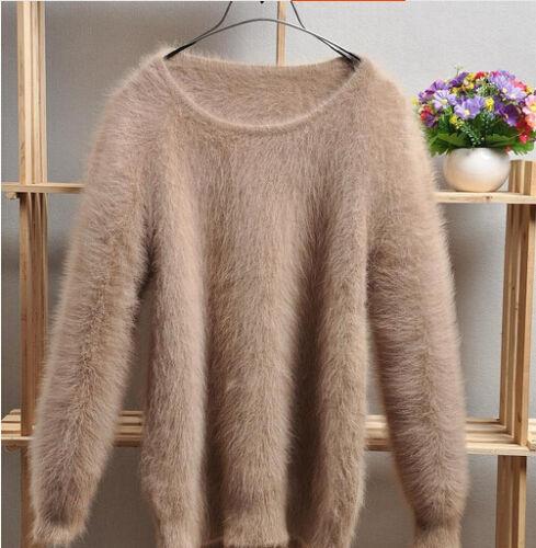 Womens Ladies Winter Angora Mink Cashmere Warm Sweater Fluffy Fuzzy Plush Jumper