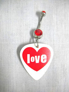 NEW LOVE TEXT INSIDE RED HEART PRINTED WHITE GUITAR PICK DBL RED CZ BELLY RING