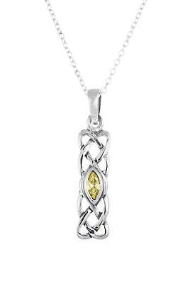 Pendientes de plata esterlina colgante de estilo Citrino Celta Cadena no hecho en Reino Unido en Caja De Regalo