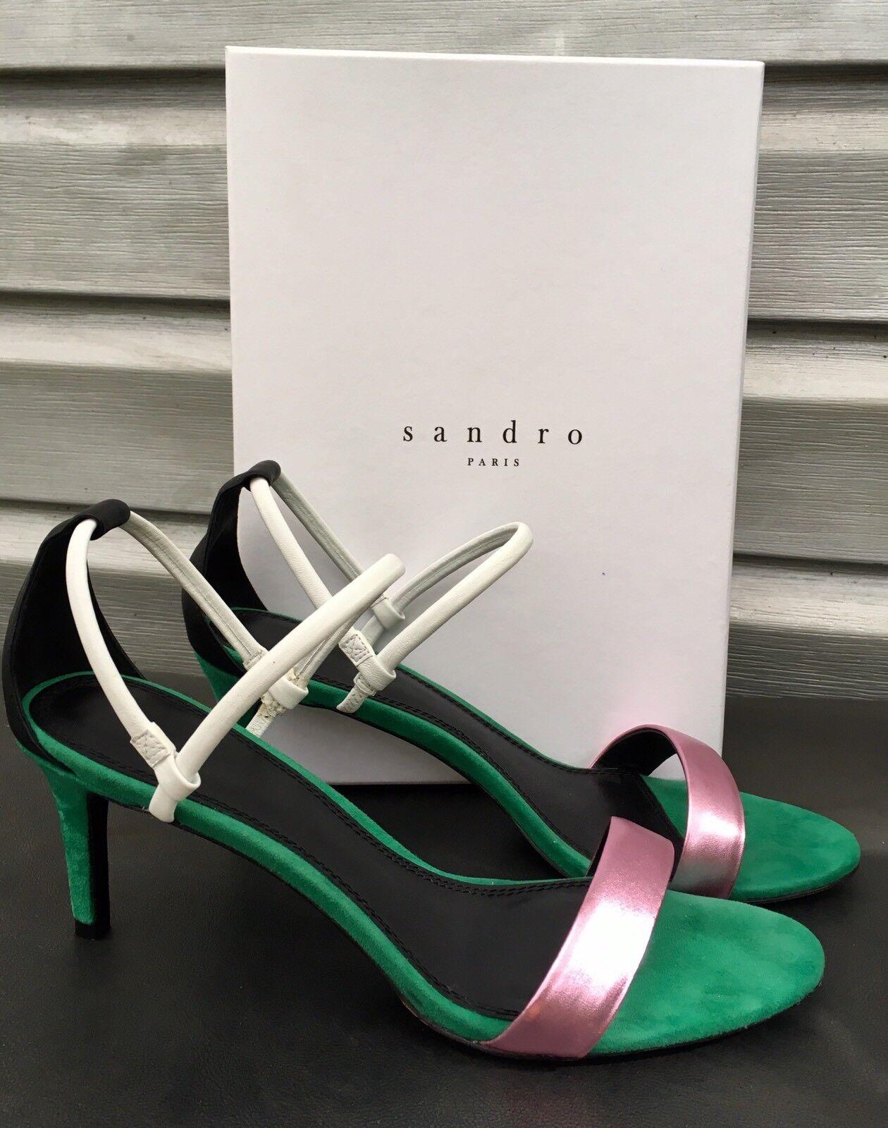 Prezzo al piano SANDRO Amel Emerald verde Suede Metallic rosa Strappy Open Toe Toe Toe Heels RARE    grandi prezzi scontati