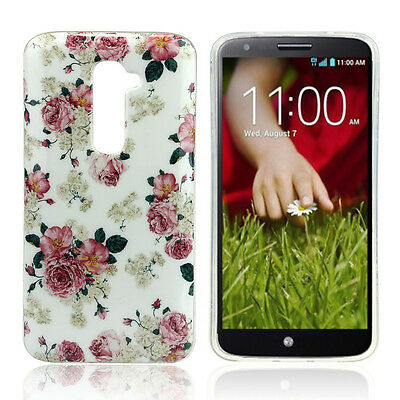 Chic Fashion Design Rose Soft Soft Gel TPU Silicone Case Cover Skin For LG G2