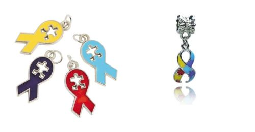 Autism Puzzle Ribbon Awareness Enamel Charms Lot Choose Color