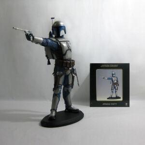 """2003 Vintage Star Wars ✧ Jango Fett ✧ Attakus Aotc 16"""" Statue Nr En Parfait état, Dans Sa Boîte-afficher Le Titre D'origine"""