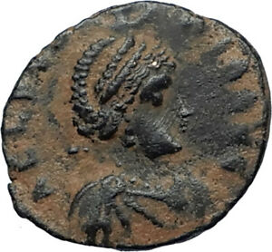 EUDOXIA-Arcadius-Wife-401AD-Authentic-Ancient-Roman-Coin-VICTORY-CHI-RHO-i67282