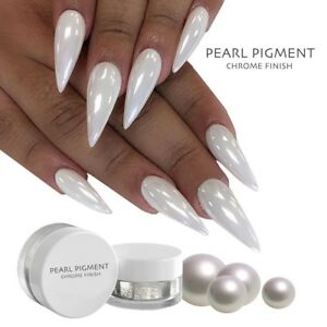 813f437a2d93 Image is loading WHITE-CHROME-POWDER-Matte-Pigment-Pearl-Nail-Pigment-
