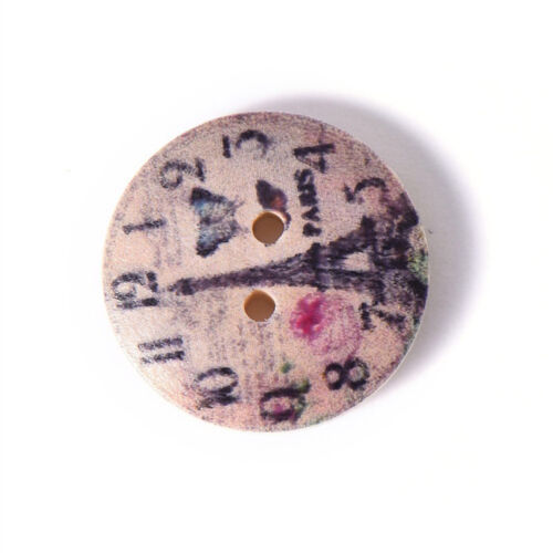 AM/_ 50PCS CLOCK DECOR WOODEN BUTTONS TWO HOLES DIY SEWING CLOTHES ACCESSORY ORNA
