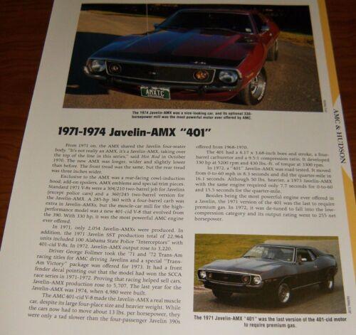 ★★1971-74 AMC JAVELIN SST AMX 401 SPECS INFO PHOTO 71 72 73 74 1972 1973 1974★★