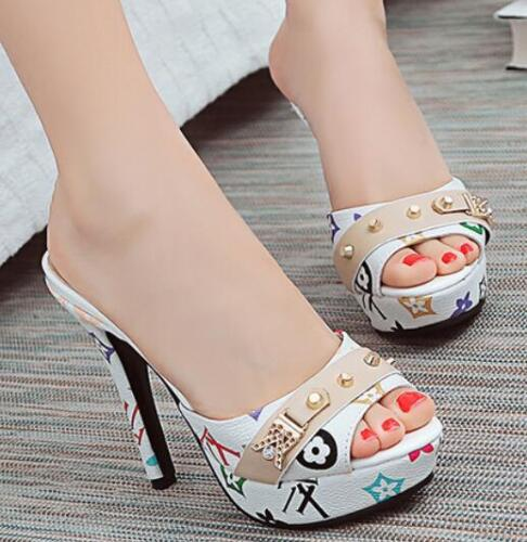 Women Peep Toe High Stiletto Heels Slipper Shoes Sandals Slip On Plus Size C823