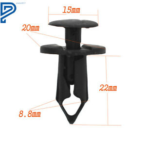 100PCs Coche Auto Parachoques Push Pin Clips Remaches Plásticos agujero diámetro sujetador Fender