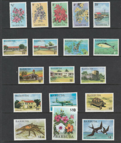 Barbuda 3249 1974 PICTORIAL DEFINITIVE set complete 18 values unmounted mint