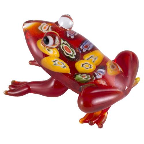 "Hand Blown Art Glass Red Millefiori Frog Figurine 2.5/"" Long New!"