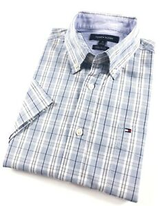 TOMMY-HILFIGER-Shirt-Men-039-s-Short-Sleeve-Crisp-Poplin-Blue-Grey-Check-Classic-Fit