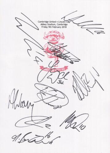 2 A4 cards with Lincoln City Badge. Signed by 19 players on 09.02.2018.
