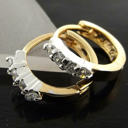 Hoop Earrings Real 18k Yellow G//F Gold Ladies Diamond Simulated Huggie Design