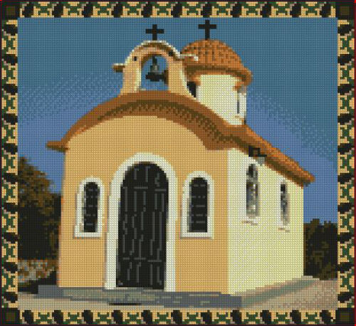 """Greek Church Complete Counted Cross Stitch Kit 11/"""" x 10/"""""""