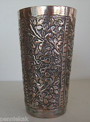 VINTAGE ISFAHAN PERSIAN MIDDLE EASTERN COPPER VASE w/ Tin Wash