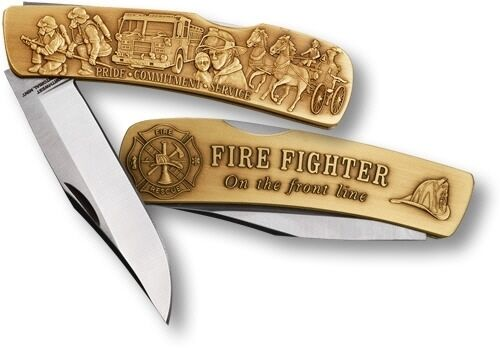 Firefighter Fire Rescue Knife ON THE FRONT LINE w PRIDE, COMMITMENT, SERVICE Br