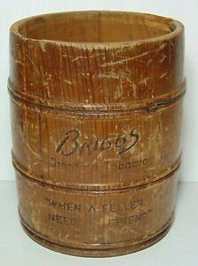 Old-Vintage-1930s-Briggs-Smoking-Tobacco-Cigar-Humidor-Advertising-Barrel-No-Lid