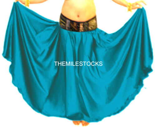 TMS DTeal Satin Skirt Belly Dance TRIBAL Gypsy 27 Color
