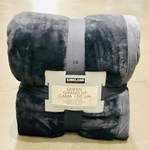 King Size Plush Throw Blanket in Charcoal Grey 248 x 233 cm Kirkland Signature