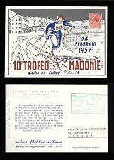 ITALIA REPUBBLICA - FDC 1957 - 10° TROFEO DELLE MADONIE SCI DI FONDO