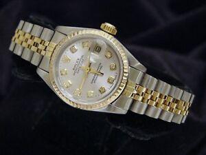 Rolex-Datejust-Ladies-2Tone-18K-Gold-Stainless-Steel-Watch-Silver-Diamond-69173