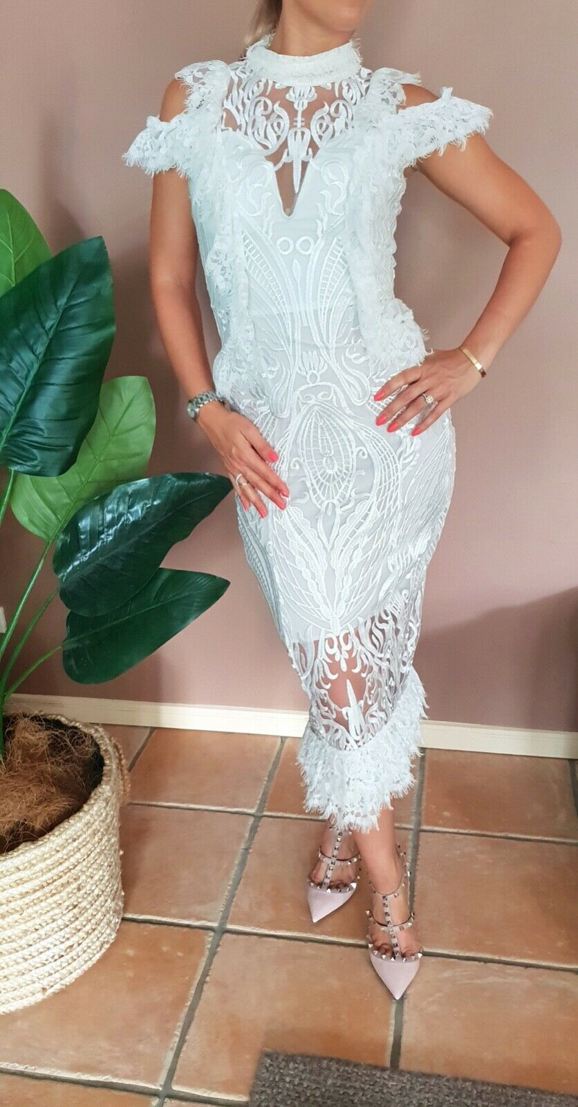 Stunning European made, high quality lace dress - NEW