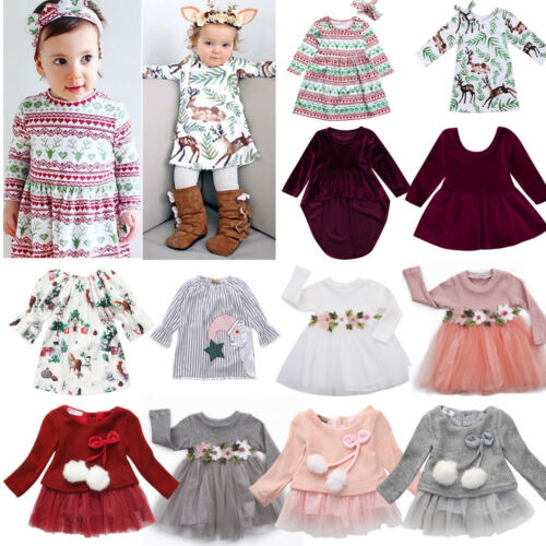 Toddler Kid Baby Girls Long Sleeve Dress Costume Floral Tulle Princess Dresses