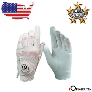Golf-Gloves-Women-Leather-Left-Hand-Right-with-Ball-Marker-Pack-Medium-Small-US