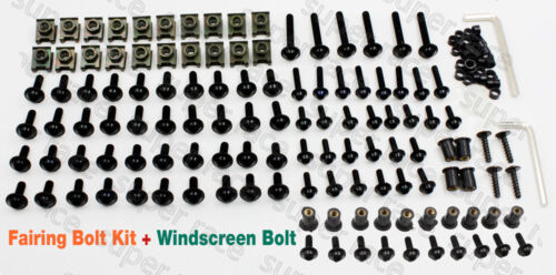 Black Moto FAIRING BOLTS KIT CLIPS SCREWS+Windshield Bolts For CBR600F 2011-2012