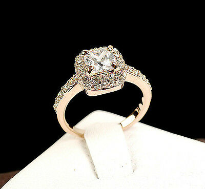 New Women Girls 18K Rose Gold GP Swarovski Crystal Unique Ring Stunning Gift K8