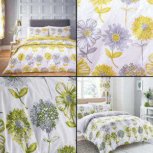 Catherine-Lansfield-Banbury-Floral-Ropa-de-Cama-Edredon-Colcha-Amarillo-Verde