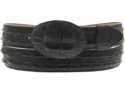 Black Leather Crocodile Alligator Tail Design Gold Western Cowboy Belt