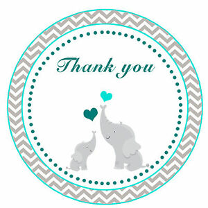 40 Thank You Label Stickers Elephant Baby Shower Party Favors