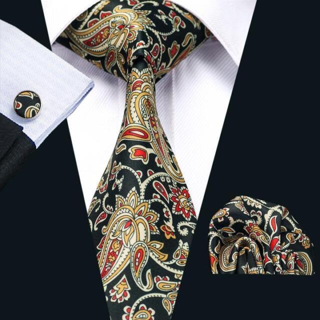 C-1254 New Hot Mens Silk Ties Yellow Floral Tie Sets Tie Hanky Cufflinks Necktie