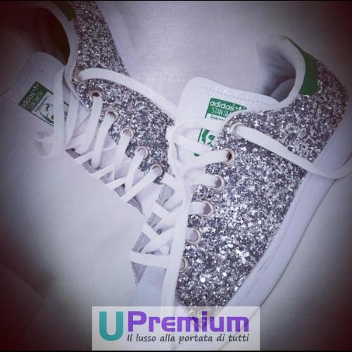 Ritorno di 10 giorni Adidas Stan Smith argentoate argentoate argentoate verde Brillantini Scarpe ORIGINALI 100% ® ITALIA 201  alla moda
