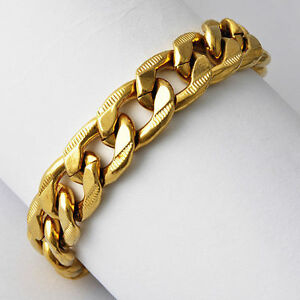 Vintage mens 9k yellow gold plated cuban link chain for Is gold plated jewelry worth anything
