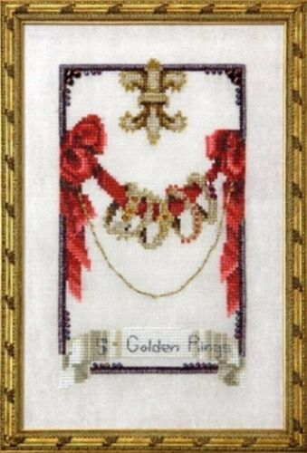 """CMPLTE XSTITCH MATERIALS /""""FIVE GOLDEN RINGS NC145/"""" 12 Days of Christmas"""