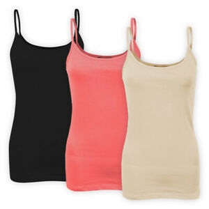 Womens-Ladies-Stretch-Cotton-Plain-Vest-Top-Spaghetti-Strap-Casual-T-Shirt-Cami