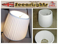 CANDLE SIZE CHANDELIER PENDANT WALL LIGHT CLIP ON LAMPSHADE WHITE PLEATED SHADE