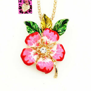 Betsey-Johnson-Enamel-Crystal-Peach-Flower-Pendant-Chain-Necklace-Brooch-Pin