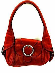 Gianni-Bini-Reddish-Brown-Faux-Leather-Hobo-Shoulder-Handbag-Purse-Tote-Buckle