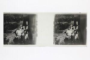 Mamá Con Sus Cuatro Chicas Francia Foto Placa De Cristal Estéreo Vintage