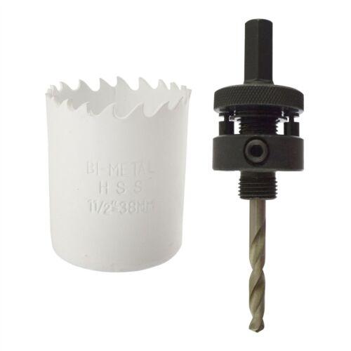 38mm HSS Hole Saw Holesaw Bi-Metal Blade Cutter Drill And Drill Adaptor Arbor