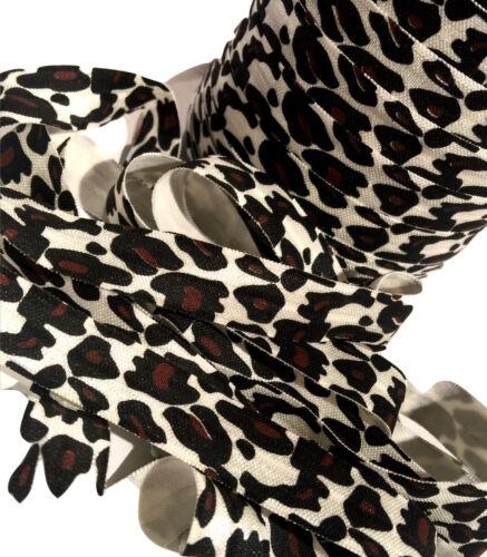 "1 yards brown leopard cheetah print 5//8/"" fold over elastic FOE"