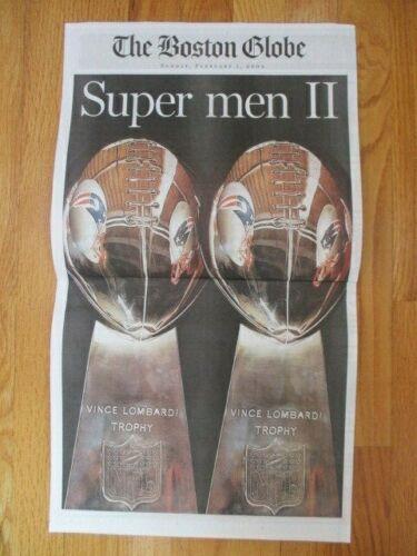 Boston Globe NEWSPAPER Commemorative WRAP 2004 PATRIOTS SUPER BOWL XXXVIII Brady