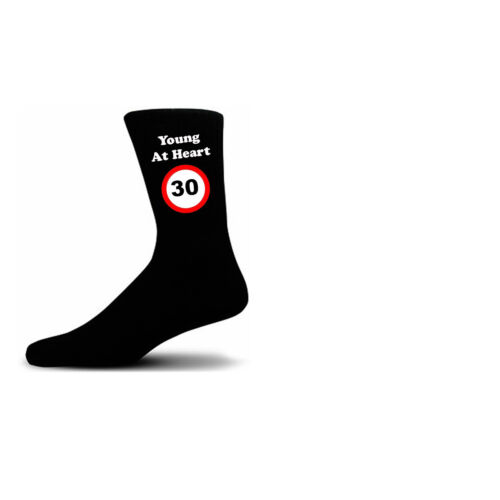 Young At Heart 30 Speed Sign Black Cotton Rich Novelty Birthday Socks