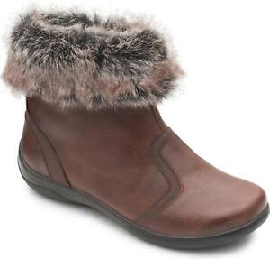 Padders-CLARINET-Ladies-Womens-Leather-Zip-Extra-Wide-2E-3E-Ankle-Boots-Brown